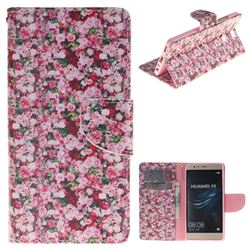 Intensive Floral PU Leather Wallet Case for Huawei P9