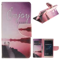 Seaside Scenery PU Leather Wallet Case for Huawei P9