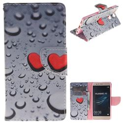 Heart Raindrop PU Leather Wallet Case for Huawei P9