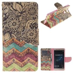 Wave Flower PU Leather Wallet Case for Huawei P9