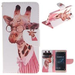 Pink Giraffe PU Leather Wallet Case for Huawei P9