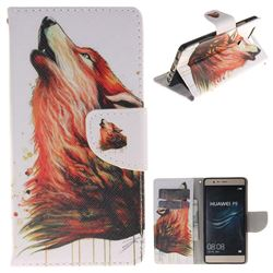 Color Wolf PU Leather Wallet Case for Huawei P9
