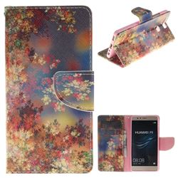 Colored Flowers PU Leather Wallet Case for Huawei P9