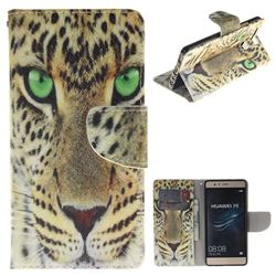 Yellow Tiger PU Leather Wallet Case for Huawei P9