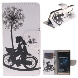 Cycling Dandelion PU Leather Wallet Case for Huawei P9