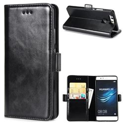 Luxury Crazy Horse PU Leather Wallet Case for Huawei P9 - Black