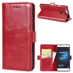 Luxury Crazy Horse PU Leather Wallet Case for Huawei P9 - Red
