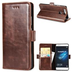 Luxury Crazy Horse PU Leather Wallet Case for Huawei P9 - Coffee