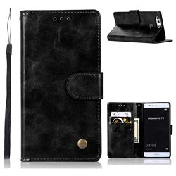Luxury Retro Leather Wallet Case for Huawei P9 - Black