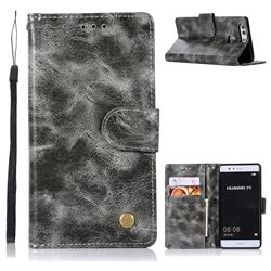 Luxury Retro Leather Wallet Case for Huawei P9 - Gray