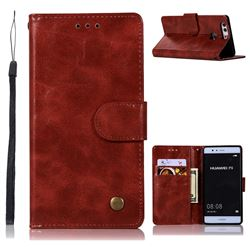 Luxury Retro Leather Wallet Case for Huawei P9 - Wine Red