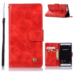 Luxury Retro Leather Wallet Case for Huawei P9 - Red