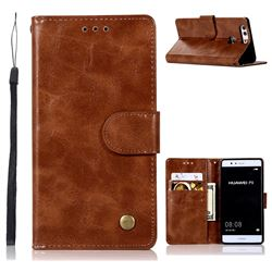 Luxury Retro Leather Wallet Case for Huawei P9 - Brown