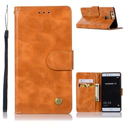 Luxury Retro Leather Wallet Case for Huawei P9 - Golden