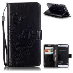 Embossing Butterfly Flower Leather Wallet Case for Huawei P9 - Black