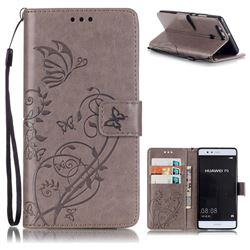 Embossing Butterfly Flower Leather Wallet Case for Huawei P9 - Grey