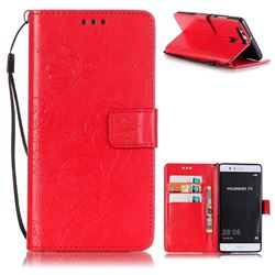 Embossing Butterfly Flower Leather Wallet Case for Huawei P9 - Red