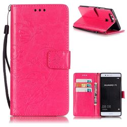 Embossing Butterfly Flower Leather Wallet Case for Huawei P9 - Rose