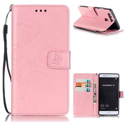 Embossing Butterfly Flower Leather Wallet Case for Huawei P9 - Pink