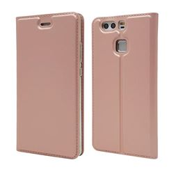 Ultra Slim Card Magnetic Automatic Suction Leather Wallet Case for Huawei P9 - Rose Gold