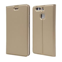 Ultra Slim Card Magnetic Automatic Suction Leather Wallet Case for Huawei P9 - Champagne