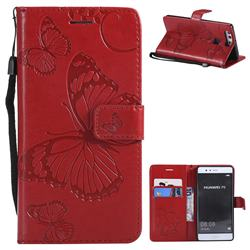 Embossing 3D Butterfly Leather Wallet Case for Huawei P9 - Red