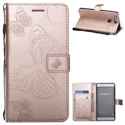 Embossing 3D Butterfly Leather Wallet Case for Huawei P9 - Rose Gold