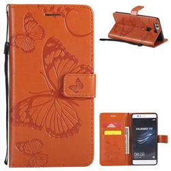 Embossing 3D Butterfly Leather Wallet Case for Huawei P9 - Orange