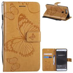 Embossing 3D Butterfly Leather Wallet Case for Huawei P9 - Yellow