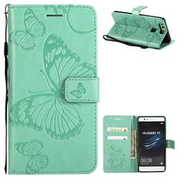 Embossing 3D Butterfly Leather Wallet Case for Huawei P9 - Green