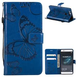 Embossing 3D Butterfly Leather Wallet Case for Huawei P9 - Blue