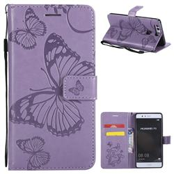 Embossing 3D Butterfly Leather Wallet Case for Huawei P9 - Purple