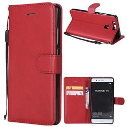 Retro Greek Classic Smooth PU Leather Wallet Phone Case for Huawei P9 - Red