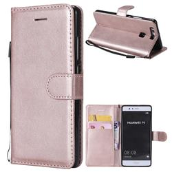 Retro Greek Classic Smooth PU Leather Wallet Phone Case for Huawei P9 - Rose Gold