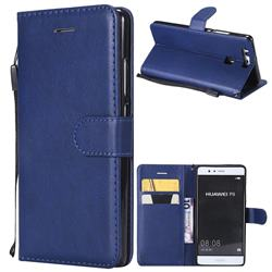 Retro Greek Classic Smooth PU Leather Wallet Phone Case for Huawei P9 - Blue