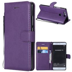 Retro Greek Classic Smooth PU Leather Wallet Phone Case for Huawei P9 - Purple