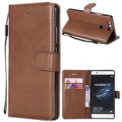 Retro Greek Classic Smooth PU Leather Wallet Phone Case for Huawei P9 - Brown