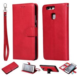 Retro Greek Detachable Magnetic PU Leather Wallet Phone Case for Huawei P9 - Red