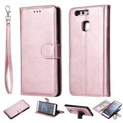Retro Greek Detachable Magnetic PU Leather Wallet Phone Case for Huawei P9 - Rose Gold