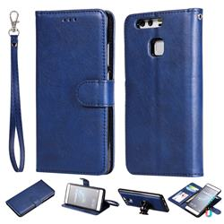 Retro Greek Detachable Magnetic PU Leather Wallet Phone Case for Huawei P9 - Blue