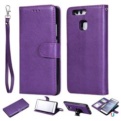 Retro Greek Detachable Magnetic PU Leather Wallet Phone Case for Huawei P9 - Purple