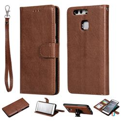 Retro Greek Detachable Magnetic PU Leather Wallet Phone Case for Huawei P9 - Brown