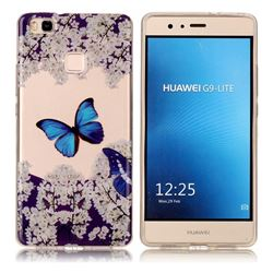 Blue Butterfly Flower Super Clear Soft TPU Back Cover for Huawei P9 Lite G9 Lite