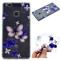 Blue Butterfly Flowers Super Clear Soft TPU Back Cover for Huawei P9 Lite G9 Lite