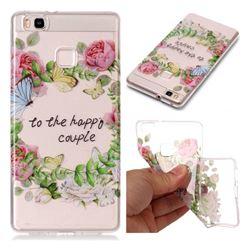 Green Leaf Rose Super Clear Soft TPU Back Cover for Huawei P9 Lite G9 Lite