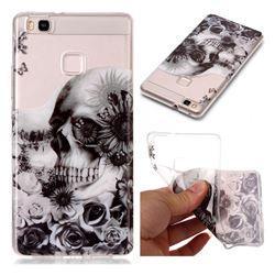 Black Flower Skull Super Clear Soft TPU Back Cover for Huawei P9 Lite G9 Lite