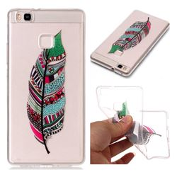 Green Feathers Super Clear Soft TPU Back Cover for Huawei P9 Lite G9 Lite