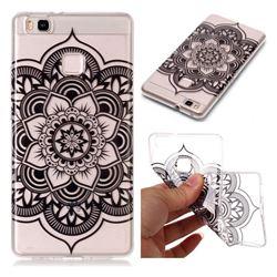Black Mandala Flower Super Clear Soft TPU Back Cover for Huawei P9 Lite G9 Lite
