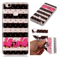 Striped Flowers Super Clear Soft TPU Back Cover for Huawei P9 Lite G9 Lite