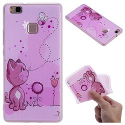 Cat and Bee 3D Relief Matte Soft TPU Back Cover for Huawei P9 Lite G9 Lite